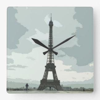 Eiffel Tower on a Cloudy Night Wallclock