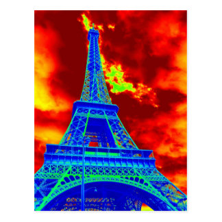 eiffel tower on fire postcard
