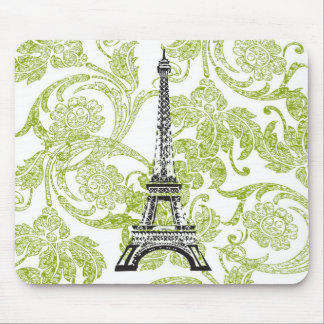 Eiffel Tower on Green Design Mousepad