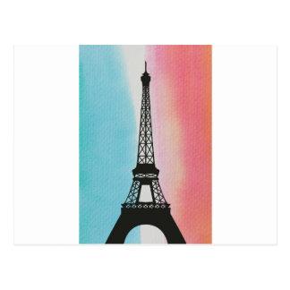 Eiffel Tower on Watercolour Background Postcard