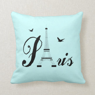 Eiffel Tower Paris Aqua Blue Black Picture Pillows Throw Cushion