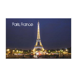 Eiffel Tower, Paris at night Canvas Canvas Print