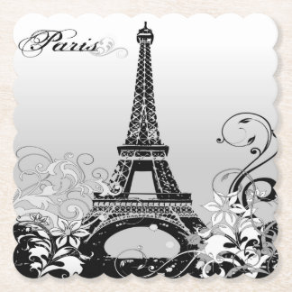 Eiffel Tower Paris (B/W) Scalloped Paper Coaster