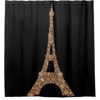Eiffel Tower Paris Black Rose Gold Copper Crystals Shower Curtain
