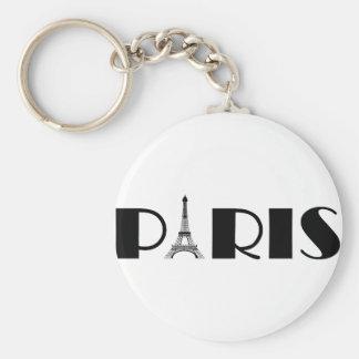 Eiffel Tower Paris Black & White Basic Round Button Key Ring