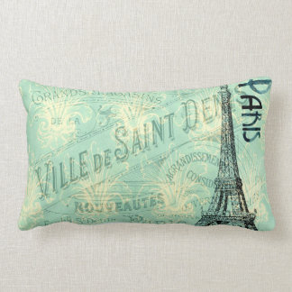 Eiffel Tower Paris Blue Post Card Vintage Pillow