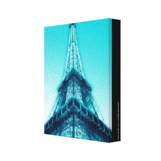 Eiffel Tower Paris Blue Wrapped Canvas 8x10