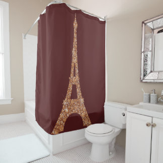 Eiffel Tower Paris Burgu Rose Gold Copper Crystals Shower Curtain