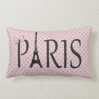 Eiffel Tower Paris Chic Pink Bows Lumbar Cushion