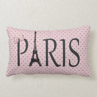 Eiffel Tower Paris Chic Pink Bows Lumbar Pillow
