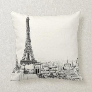 Eiffel Tower Paris Cityscape Sketches Throw Pillow