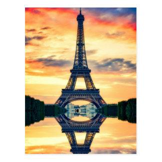 Eiffel Tower Paris Evening European Travel Postcard