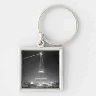 Eiffel Tower Paris France 1900 Silver-Colored Square Key Ring