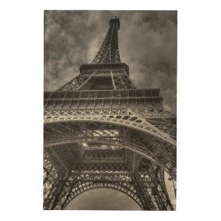 Eiffel Tower, Paris, France B&W Wood Canvas