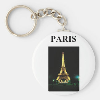 eiffel tower paris france basic round button key ring