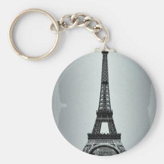 Eiffel Tower Paris France Basic Round Button Key Ring