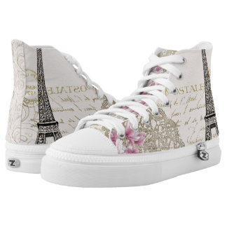 Eiffel tower Paris France flower high top shoes