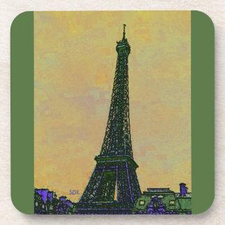 Eiffel Tower Paris France Landmark as Artistic Beverage Coasters