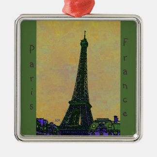 Eiffel Tower Paris France Landmark as Artistic Silver-Colored Square Decoration