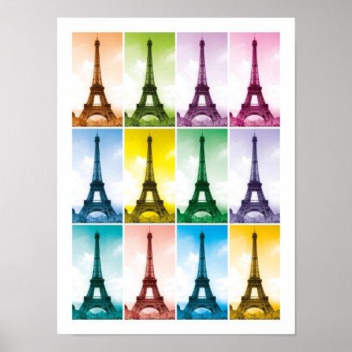 Eiffel Tower Paris France Pop Art Posters