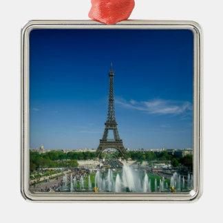 Eiffel Tower, Paris, France Silver-Colored Square Decoration