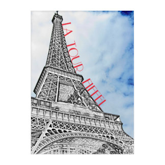 Eiffel Tower Paris France with Blue Sky Acrylic Acrylic Wall Art