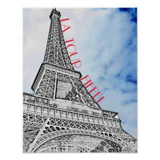 Eiffel Tower Paris France with Blue Sky Poster