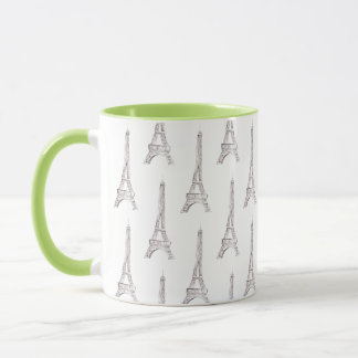 Eiffel Tower Paris French Watercolor Doodle Mug