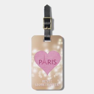 Eiffel Tower Paris Heart | Trendy Bokeh For Her Luggage Tag