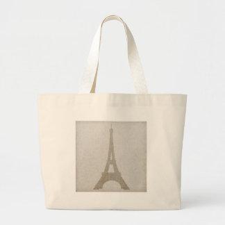 Eiffel Tower Paris linen burlap vintage rustic Canvas Bags