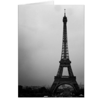 Eiffel Tower Paris on a cloudy afternoon Card