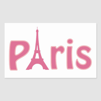 Eiffel tower paris pink text art rectangular sticker