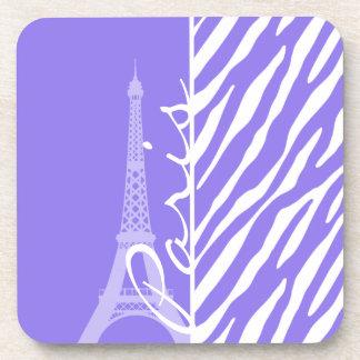 Eiffel Tower Paris Purple Zebra Stripes Coasters