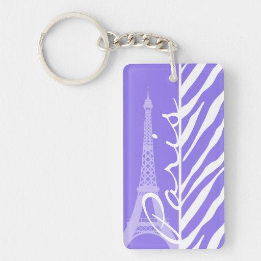 Eiffel Tower, Paris, Purple Zebra Stripes Rectangle Acrylic Keychain
