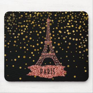 Eiffel Tower Paris | Rose Gold Glam Confetti Dots Mouse Pad
