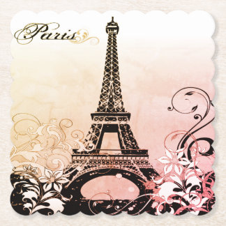 Eiffel Tower Paris Scalloped Paper Coaster