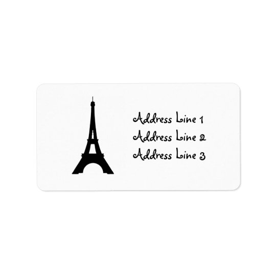 Eiffel Tower, Paris Silhouette Address Label