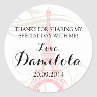 Eiffel Tower Paris Wedding Round Sticker
