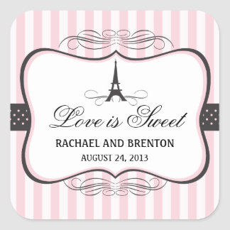 Eiffel Tower Paris Wedding Square Stickers