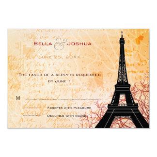 Eiffel Tower Peach RSVP 9 Cm X 13 Cm Invitation Card