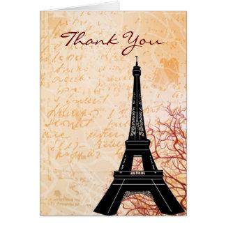 Eiffel Tower Peach Thank You Note card