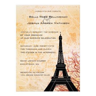 Eiffel Tower Peach Wedding Invitation