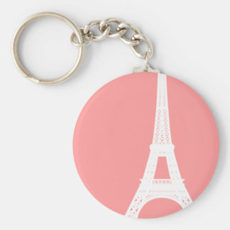 Eiffel Tower Pink Basic Round Button Key Ring
