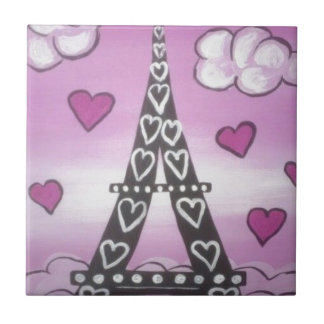 eiffel tower pink ceramic tile