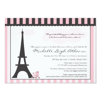 Eiffel Tower & Pink Poodle  Bridal Shower 13 Cm X 18 Cm Invitation Card