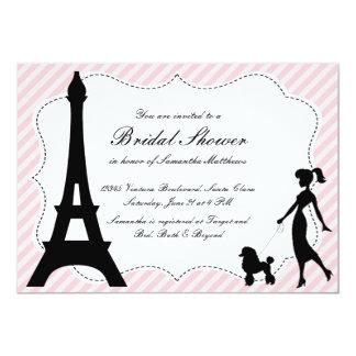 Eiffel Tower & Pink Poodle Bridal Shower Invitatio Card