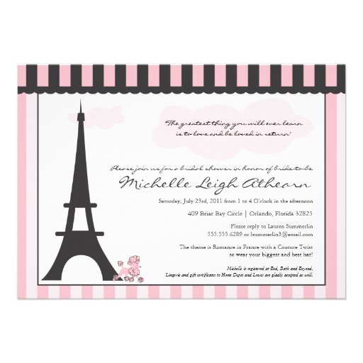 Eiffel Tower & Pink Poodle  Bridal Shower Custom Invites