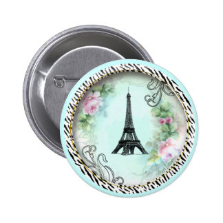 Eiffel Tower Pink Roses and Zebra Print 6 Cm Round Badge