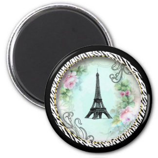 Eiffel Tower Pink Roses and Zebra Print 6 Cm Round Magnet