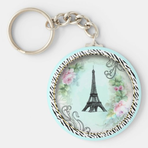 Eiffel Tower Pink Roses and Zebra Print Basic Round Button Key Ring